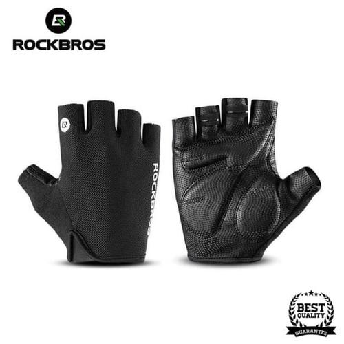 Foto Produk Sarung Tangan Sepeda RockBros Gloves Half Finger Gel Black Original - M dari Rockbros Bike