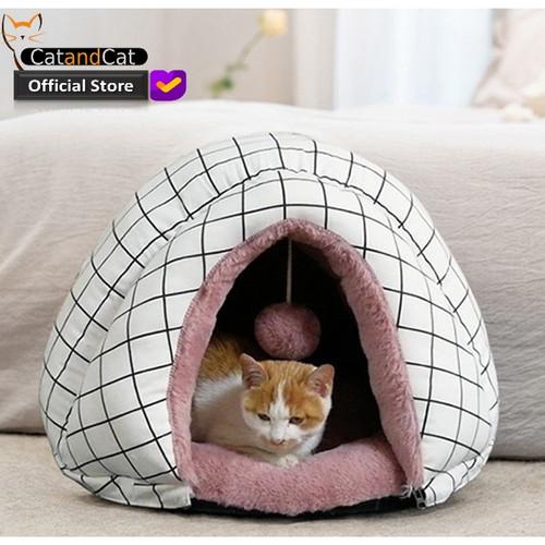 Foto Produk Cat Sleeping Bed - Kasur Kucing Mewah (Catton, Canvas, Cony) - Putih krim dari catandcat
