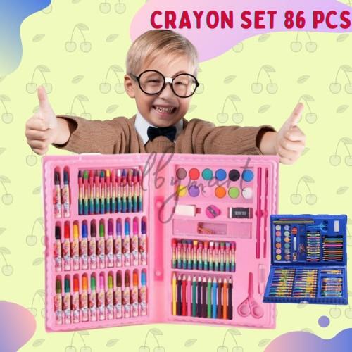 Foto Produk Colouring Set 86 pcs Pensil Warna Crayon set Stationary Kado anak - Biru dari cabokimurah