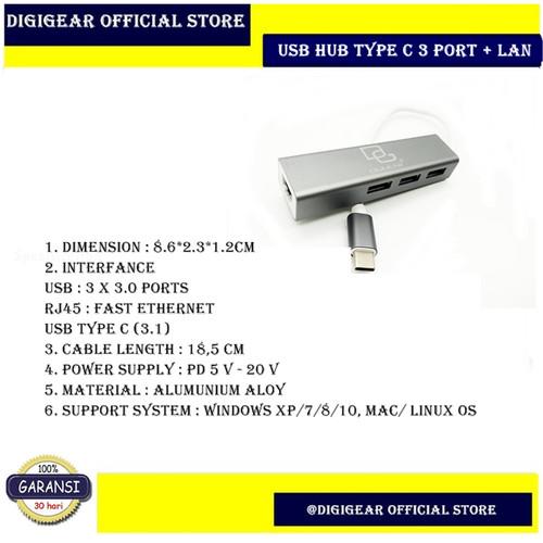 Foto Produk USB Hub Type C 3.1 3 Port USB 3.0 + LAN High Quality dari DIGIGEAR Official Store