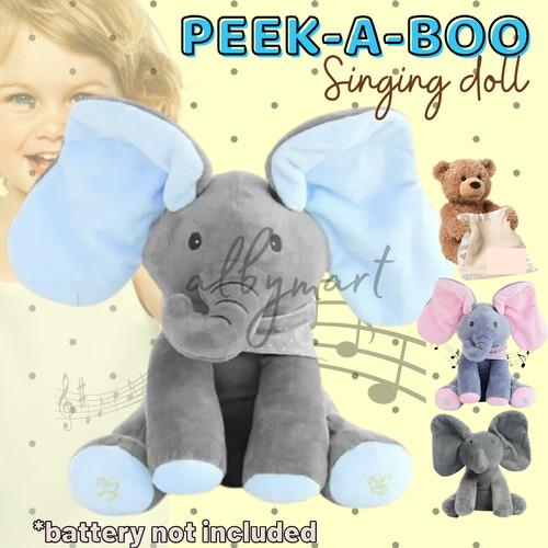 Foto Produk BEAR PEEK A BOO Boneka Beruang Cilukba Plush Singing Baby Toys - Gajah FULL GREY dari cabokimurah