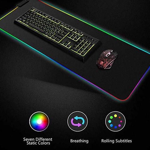 Foto Produk Gaming Mouse Pad dengan LED RGB 300x780x4mm - HITAM 30x78CM dari Rayasa Tech