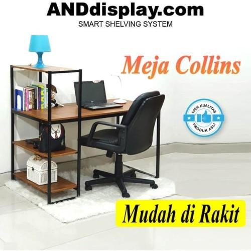 Foto Produk MEJA COLLINS BELAJAR INDUSTRIAL KOMPUTER KANTOR MINIMALIS ANDDISPLAY - Hitam dari TOKORAK.ID