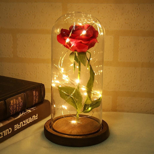 Foto Produk Bunga Mawar Lampu LED Dekorasi Beauty and The Beast Rose - AC01 - Merah dari New HKS