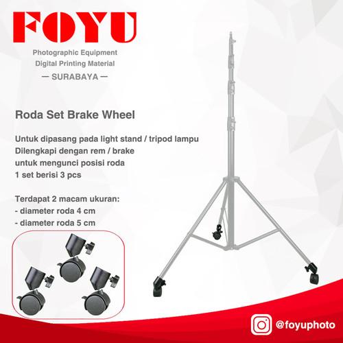 Foto Produk Roda Set Brake Wheel Untuk Light Stand Tripod Lampu - Roda Set dari Foyu Photo