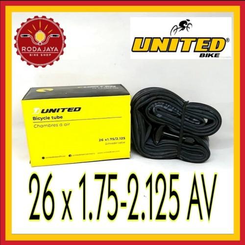 Foto Produk Ban dalam sepeda United 26 x 1.75/2.125 AV dari Rodajaya Olshop
