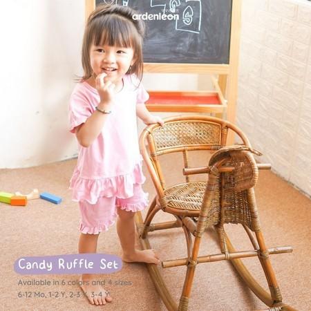 Foto Produk Ardenleon - Candy Ruffle Set BAJU ANAK PEREMPUAN - PASTEL PEACH, M dari NMbabyshop