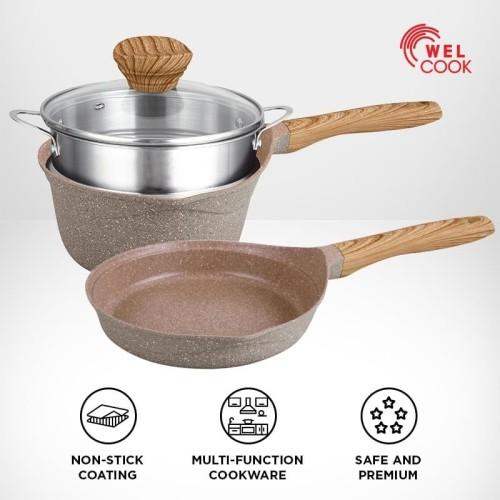 Foto Produk Welcook Panci & Saucepan Granite Elegante 4 pcs Set dari Welcook Cookware