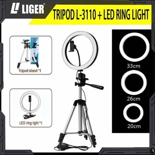 Foto Produk RING LIGHT LED 20 cm/26 cm/33c mTRIPOD 3110 SELFIE MAKE UP LIVE TIKTOK - 20 cm dari LIGER OFFICIAL STORE