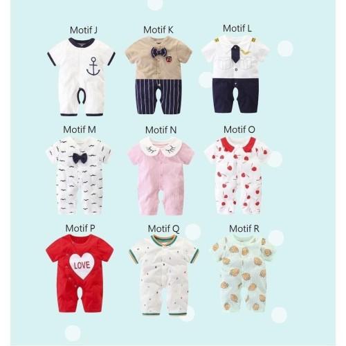 Foto Produk Jumper Bayi / Romper Bayi Segiempat / Baju Kodok Segiempat Bayi Lucu - Motif R dari M&K ( Mom & Kids)
