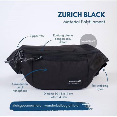 Foto Produk Zurich Black Wanderlust  Tas Selempang Waistbag Hitam Fannypack Travel dari Wanderlustbag Official