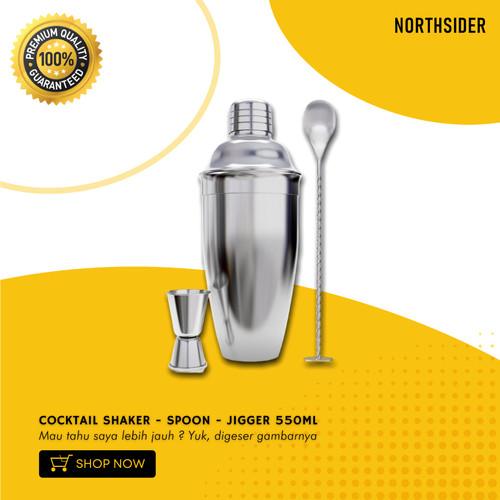 Foto Produk COCKTAIL SHAKER 550ML & 720ML - KOKTAIL SET BAR SPOON & JIGGER - 550ml dari Northsider coffee shop