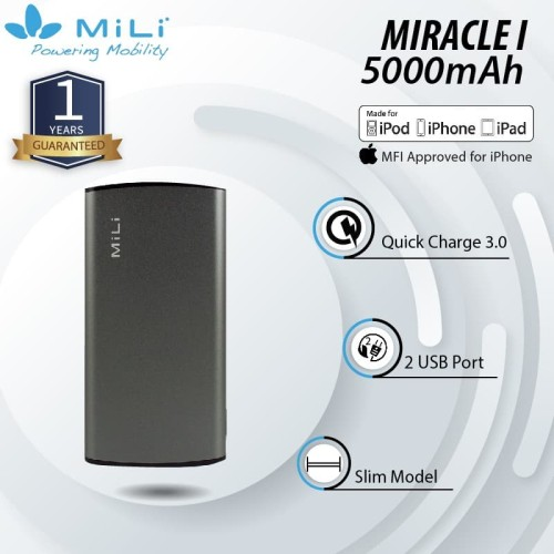 Foto Produk MiLI Power Miracle I Powerbank 5000mAh Real Capacity - Grey dari Mili Official Store