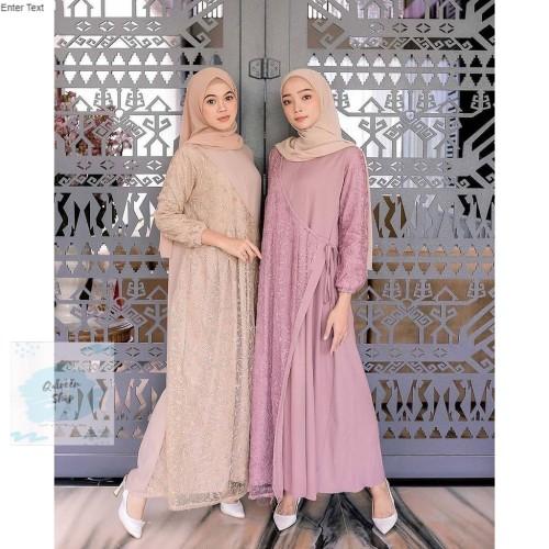Foto Produk GAMIS MUSLIM / AYU DRESS / DRESS MAXY BRUKAT WANITA KONDANGAN MURAH - Pink dari Qaireen-id