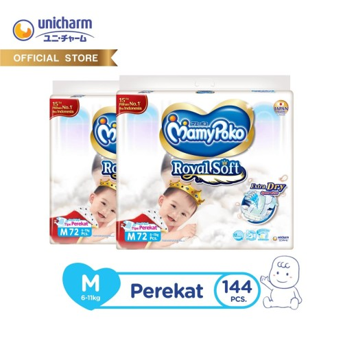 Foto Produk MamyPoko Popok Perekat Extra Soft - M 72 - 2 Packs dari Unicharm Official Store