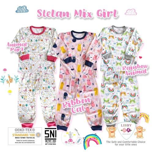 Foto Produk LIBBY Setelan Oblong Panjang & Celana Panjang S,M,L (MIX GIRL) - Size S, ANIMAL PARK dari Lemari Anak
