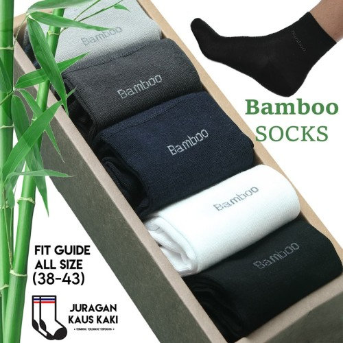 Foto Produk Kaos Kaki Panjang Pria Serat Bambu Arang Katun Bamboo Original Asli - Hitam dari Juragan kaus kaki