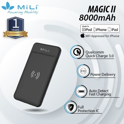 Foto Produk MiLi Power Magic II Fast Charging Powerbank Wireless 8000 mAh/ QC dari Mili Official Store