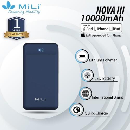 Foto Produk MiLi Power Nova III Powerbank 10000 mAh/ Qualcomm QC / PD - Dark Blue dari Mili Official Store