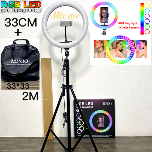 Foto Produk MIXIO Ring Light RGB 33CM + 2M Led Rainbow TRIPOD Video LED TIKTOK - PAKET PLUS TAS dari Mix acc88