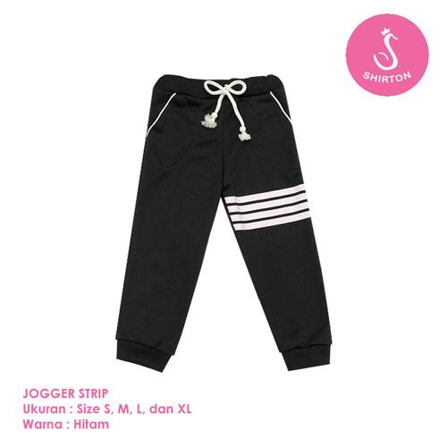 Foto Produk Celana Jogger Anak Model Strip 1-8 Tahun Shirton - STRIP HITAM, Size S dari shirton