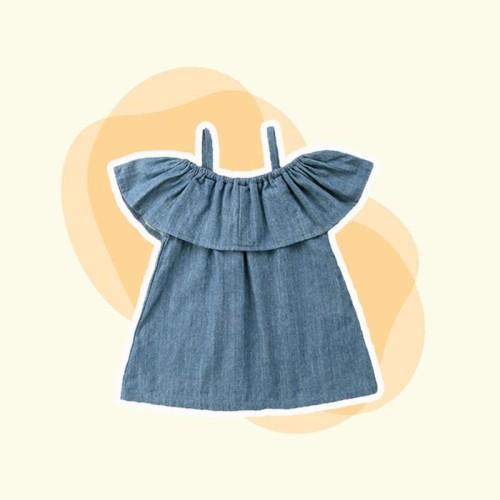 Foto Produk Off-Shoulder Denim Top / Atasan Bayi - 18-24 Bulan dari Abby Baby
