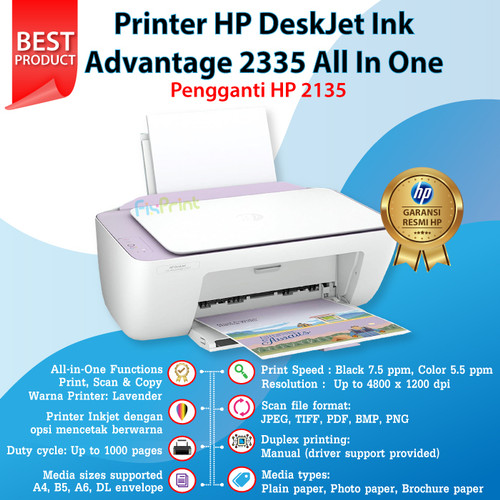 Foto Produk Printer HP Deskjet 2335 2336 2337 Print Scan Copy Pengganti HP 2135 - Lavender dari FixPrint Jakarta