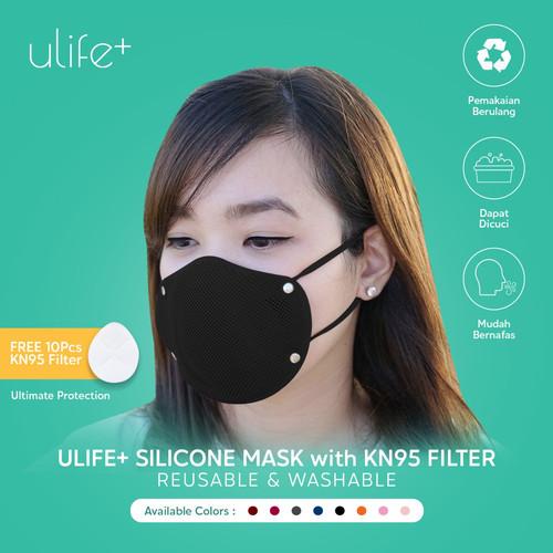 Foto Produk Ulife+ Masker KN95 Silikon Reusable Washable Dewasa & Anak Anti Virus - Dewasa, Hitam dari Uneed Indonesia