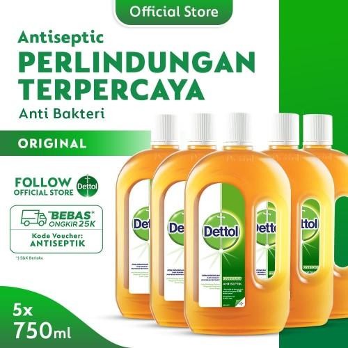 Foto Produk Dettol Cairan Antiseptik 750 ml x 5pcs [PAKET HEMAT ISI 5] dari Dettol Official Store