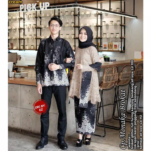 Foto Produk Couple Batik Muslim Kebaya Monaka Brokat Selendang Lengan Panjang - cream dari MUGI TRESNO