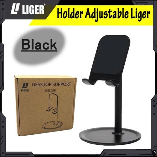 Foto Produk LIGER Adjustable Desktop Phone Stand Tablet Holder with 360 - Hitam dari LIGER OFFICIAL STORE