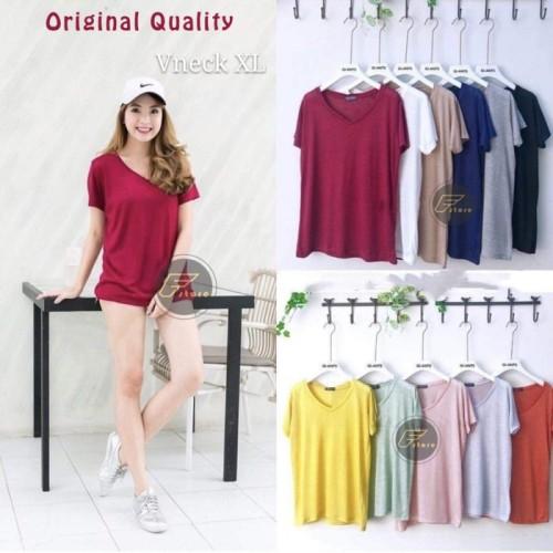 Foto Produk Kaos polos wanita size XXL murah tshirt V neck casual - NEVI, XXL dari classfashion_official