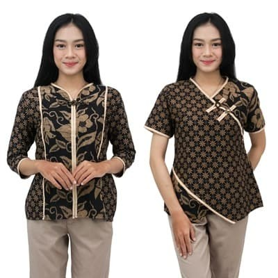Foto Produk Batik Wanita Atasan Blouse Batik Dua Putri Collection SIZE S s/d 5L - PENDEK, S dari BATIK DUA PUTRI