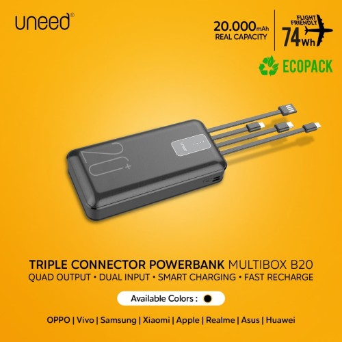 Foto Produk UNEED Powerbank 20000mAh Built in Cable Fast Charging 2.1A - UPB231.2 dari Uneed Indonesia