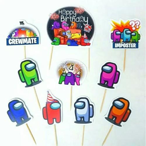 Foto Produk topper hiasan kue ulang tahun happy birthday karakter among us dari rean shoop