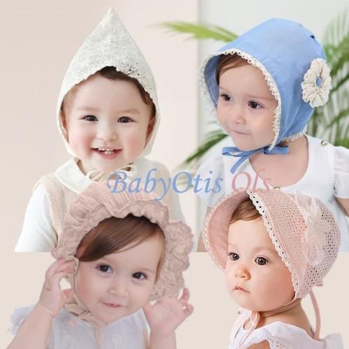 Foto Produk Topi Noni Bayi Perempuan Bonnet Hat - Noni White dari BabyOtis Ols