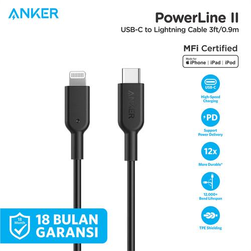 Foto Produk Kabel Charger Anker PowerLine II C to Lightning 3FT Black - A8632 - Hitam dari Anker Indonesia