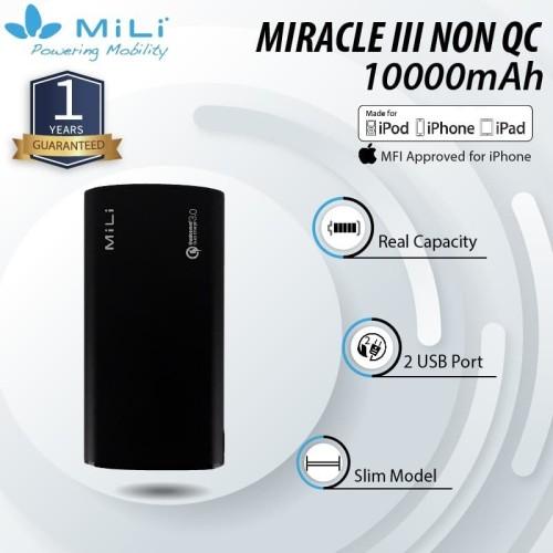 Foto Produk Powerbank Mili Miracle III Real Capacity 10000mAh - Black dari Mili Official Store
