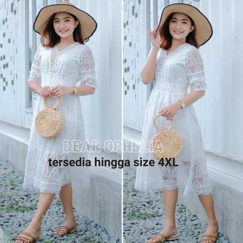 Foto Produk Midi Dress Renda Putih Lace Brukat Pesta Boho Bohemian Pantai Bangkok - S dari Dear Ophelia