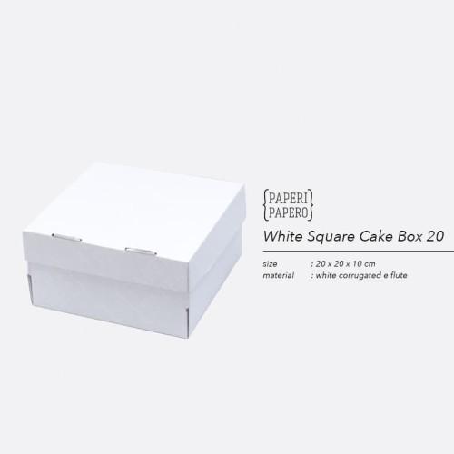 Foto Produk White Cake Box - Kotak / Dus / Boks Kue Bolu Putih (20 x 20 x 10 cm ) dari Paperi Papero