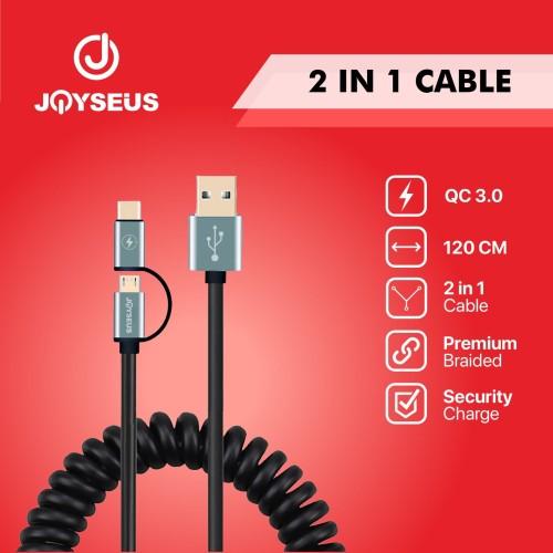 Foto Produk JOYSEUS Cable DATA MIcro USB & Type-C 2 In 1 JOYSEUS 120 CM - KB0055 dari Joyseus Official Store