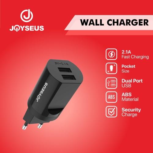 Foto Produk Charger Travel adaptor Colokan USB 2 Ports JOYSEUS 2.1A hitam - CL0019 dari Joyseus Official Store