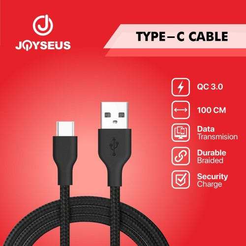 Foto Produk Kabel data Type-C Type C JOYSEUS 100CM Nylon Braided Black - KB0005-CC dari Joyseus Official Store