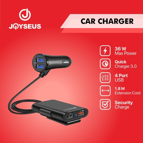 Foto Produk JOYSEUS 4 Ports QC3.0 Quick Charger Mobil USB Car Charger - CM0005 dari Joyseus Official Store