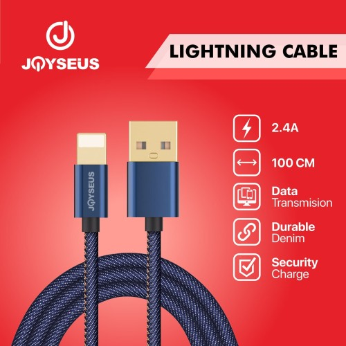 Foto Produk JOYSEUS Apple Lighting Cable 2.4A Braided Cable 120CM - KB0001 dari Joyseus Official Store
