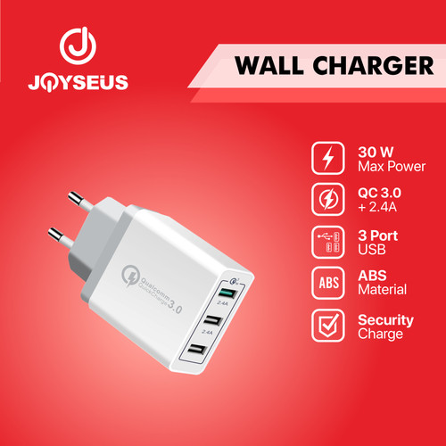 Foto Produk JOYSEUS Fast Charging Charger 3.0 Original Quick Colokan USB - CL0010 - Putih dari Joyseus Official Store