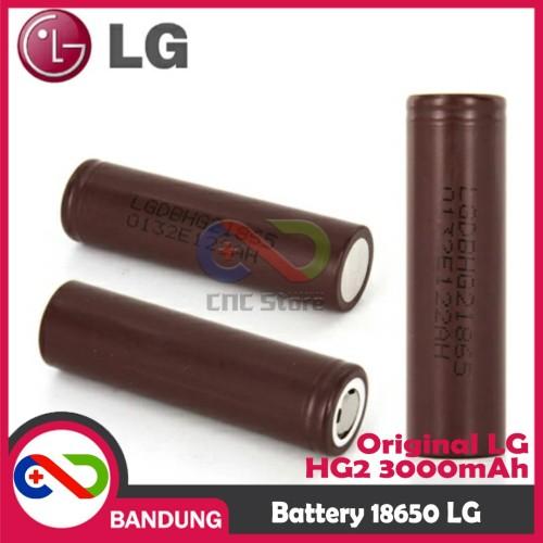 Foto Produk BATERAI 18650 ORIGINAL LG HG2 18650 3000Mah BATTERY REAL CAPASITY dari CNC STORE BANDUNG
