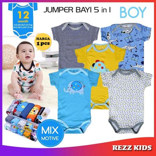 Foto Produk BAJU BAYI LAKI LAKI PEREMPUAN 0 6 BULAN PAKAIAN BAYI JUMPER BAYI RZ46 - Boy 0-3 Bulan dari Rezz Kids