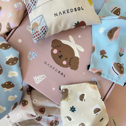 Foto Produk Nakedsol X Kellysandco Merchandise (Pouch, Grocery Bag, Bandana, Mask) - Merah Muda dari Nakedsol