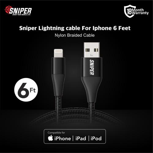 Foto Produk Sniper Cable Nylon Braided Lightning 6 feet /1.8m -Black dari Sniper Indonesia